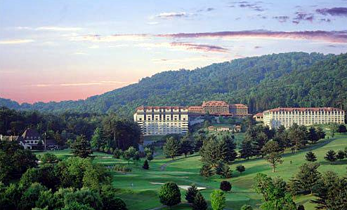 The Grove Park Inn in Asheville with a setting of green rolling hills